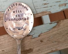 Trespassers will be Composted hand stamped by VintageGardenArt