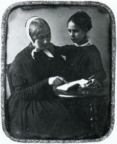 Woman reading to a girl - daguerreotype c. 1845