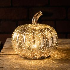 Mottled Rose Gold Pumpkin Battery Light | Lights4fun.co.uk
