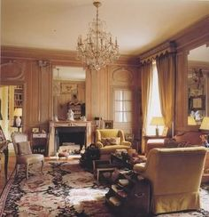 The cosy boudoir glows with the warmth of antique wood panelling complemented by a sofa and armchairs is covered in deep gold velvet with curtains to match. The Duke and Duchess of Windsor Paris home English Interior, Classic Interior, Windsor Homes, Paris Home, Interior Decorating, Interior Design, Decorating Ideas, How To Antique Wood, Interior Exterior