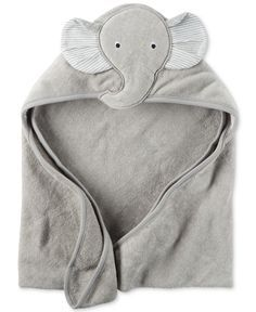 Bath time is extra snuggly and soft for baby boy with this elephant-themed hooded terry towel from Carter's. | Terry towel and lining: cotton | Machine washable | Imported | Elephant appliqué at hood