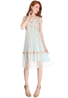Ethereal Essence Dress in Blue Skies. Whether youre picking flowers in a field or just skipping down the street, this applique-trimmed, lacy dress by Nataya accompanies you to your favorite places! #blue  #prom #modcloth