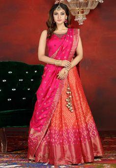 Half Saree Lehenga, Lehenga Saree Design, Lehnga Dress, Bridal Lehenga Choli, Saree Look, Lehenga Designs, Ghagra Choli, Orange Lehenga, Wedding Lehnga
