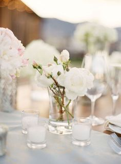 style me pretty - real wedding - usa - california - lake tahoe wedding - willow stay ranch - private residence - reception decor - table decor - centerpiece - spray roses & peonies