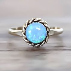 OPAL ♥️ Blue Opal Navajo Ring, hand crafted by Navajo Artisans and available in Blue and White Opals at www.indieandharper.com