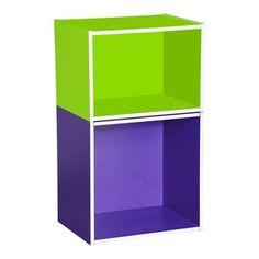 Lot de 2 Cubes de rangement - 39,5 x 29,5 x 39,5 cm - 39,5 x 29,5 x 28 cm - Vert, Violet