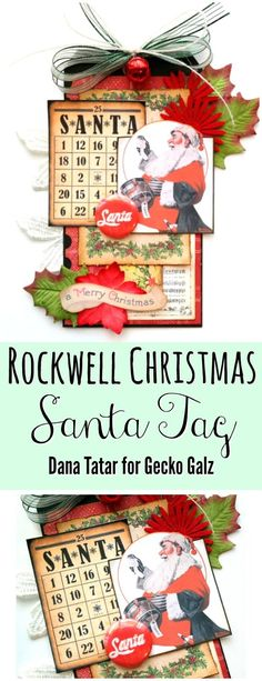 """Dana Tatar shares how to use the Rockwell Christmas Digital Collage Set from Gecko Galz to create a vintage Christmas Tag. #TheyCallMeTatarSalad #ChristmasTag #VintageChristmas #NormanRockwell"""""""