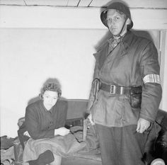 "thedevilsguard: "" Ruth Anderson, the only Norwegian woman to work at the Gestapo HQ in Norway, under arrest and awaiting trial. Nuremberg Trials, Pearl Harbor Attack, Military Units, The Third Reich, Women In History, World War Ii, Ww2, Norway, Police"