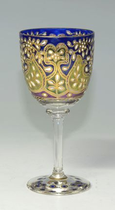 Wine Goblet - Clear Glass Goblet With Transparent Enamel Floral Design With Gilding Set Into Wheel-Cut Borders  -  Signed Fritz Heckert  c.1910