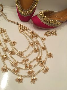 Meenakari Polki rani Haar set (£120) paired with our pink Cinderella Punjabi Juttis (£38).