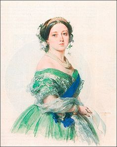 Queen Victoria was portrayed by Winterhalter wearing a green evening dress and ruby jewelry in this 1855 watercolor.    Posted on the Royal Jewels of the World Message Board by Nellie on 6 June 2009.