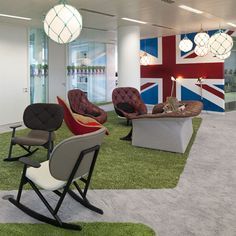 Google Super HQ London - is it the Union Jack that makes me love this fitout or the quirky furniture or the village green theme! Either way, Google has done it again!