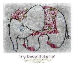 """Looking for your next project? You're going to love """"ELLIE the Elephant"""" : a stitchery by designer Jenny of Elefantz. - pdf pattern via @Craftsy"""