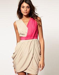 asos color block drape dress. $63.63