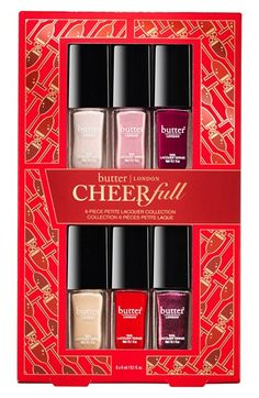 Free shipping and returns on butter LONDON CHEERfull Petite Nail Lacquer Collection (Limited Edition) ($48 Value) at Nordstrom.com. What it is: The butter LONDON CHEERfull Nail Lacquer Collection is filled with an intoxicating blend of shimmering finishes and bold colors to create a fresh palette.What it does: Each nail lacquer features a highly pigmented, quick-drying formula that promotes strong, healthy nails and is formulated without toluene, DBP or formaldehyde. It's color without…