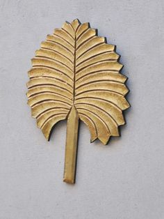"Wood-Brass Beautiful Leaf Design 10.5"" (Inch)  Home Décor Gift Item Natural  #Craft"