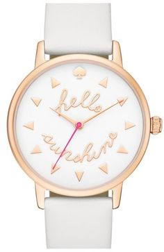 Kate Spade New York 'metro - Sunshine' Leather Strap Watch, 34mm