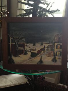 My mono & dads farm house in northern Wisconsin, they didn't have a horse & sleigh, but I can imagine! Oil, artist: Kare Dreher