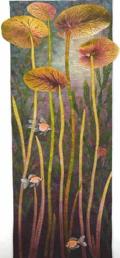 """Fish Eye View, 46"""" x 18"""" betty busby--fine art in fiber"""