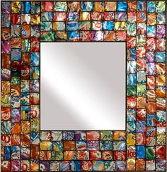 Pop art mirror made from recycled soda pop (aluminum) cans.