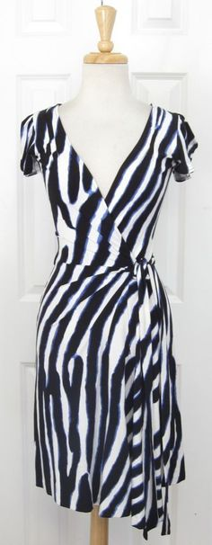DVF Wrap Dress- rayon with 5% spandex  Blue/White Rayon Knit or Gray Floral Knit