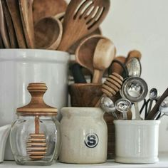 Wooden spoons, ceramic pots, glass jars and measuring spoons from… - kitchen d. - Wooden spoons, ceramic pots, glass jars and measuring spoons from… – kitchen decoration – Wo - Tidy Kitchen, Wooden Kitchen, Kitchen Tools, Kitchen Decor, Kitchen Storage, Kitchen Organization, Kitchen Ideas, Kitchen Styling, Kitchen Gadgets