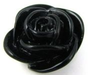 20mm Acrylic Rose Bead - Black