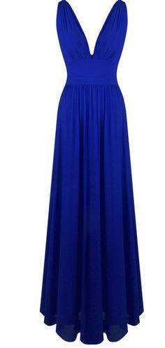 V neck creases light yarn long evening dress