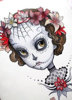 Dia de los Muertos - Adonica -  8x10 Limited Edition Signed Art Print - by Mab Graves-unframed