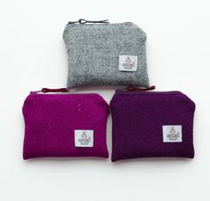 Pink or grey Harris Tweed purse - Scottie dog lining - great gift for girls £9.50