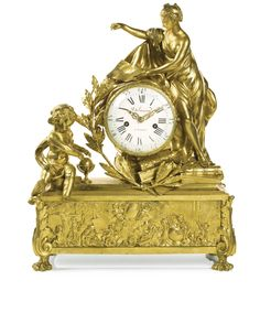 A LOUIS XVI GILT-BRONZE MANTEL CLOCK, NICOLAS-PIERRE DELUNESY, PARIS, CIRCA 1780 5¾-inch enamel dial signed Delunesy A Paris, bell striking movement with star cut outside count wheel, anchor escapement with silk suspension, flat bottomed plates signed on a the backplate De Lunsey A Paris, the drum flanked by a classical female figure and a putto, the base depicting putti engaged in the arts and sciences, the acanthus corners on paw feet
