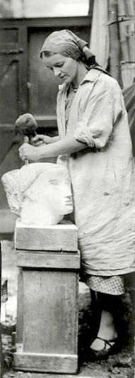 Barbara Hepworth (British, 1903 – 1975) sculpting a head, 1930