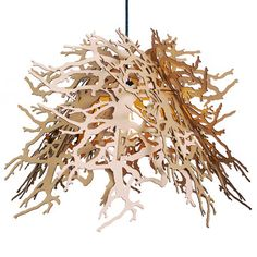 "The Branches pendant light is made up of eight laser-cut ""leaves"" that, when put together, form a beautiful, contemporary sculptural light."