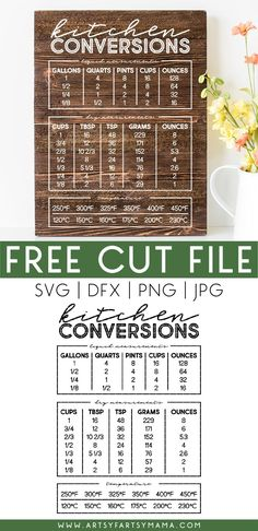 Free Kitchen Conversion Chart Cut File Kitchen Vinyl, Kitchen Rules, Kitchen Signs, Pint Cups, Kitchen Conversion, Cooking Temperatures, Chart Design, Food Hacks, Food Tips