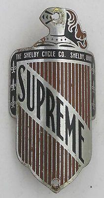 Supreme Bicycle Head Badge bike Name Plate antique original old vintage in Collectibles | eBay