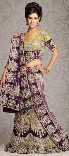 Green And Purple Indian Wedding Dress