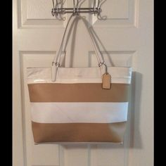 Selling this  Coach 30511 Tan White Striped Shoulder Bag in my Poshmark closet! My username is: saccardi. #shopmycloset #poshmark #fashion #shopping #style #forsale #Coach #Handbags