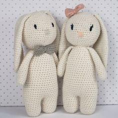 Hæklet kanin - kit til 2 bamser