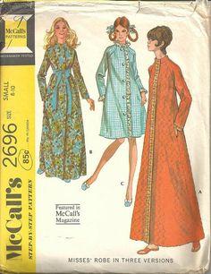 1970s Ladies' Robe 3 Versions Raglan Sleeves Full by kinseysue