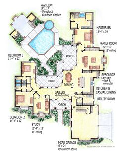 First Floor Plan of European House Plan 56541