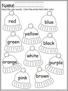 free winter hats coloring activity that provides practice with color words terrific for pre - Learning Colors Worksheets For Preschoolers