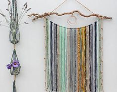 Large Macrame Yarn Wall Hanging on Driftwood/ Mixed Media Hanging/ Macrame/ Yarn Wall Art/ Wall Decor/ Home and Living/ Above a Bed/ Nursery Yarn Wall Art, Yarn Wall Hanging, Wall Art Decor, Driftwood, Home And Living, Macrame, Mixed Media, Nursery, Bed