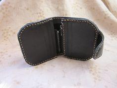革財布 Leather bifold wallet (hand stitched) (black)