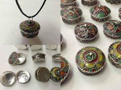 Moroccan Tribal Silver Alloy Round Lidded Pendant Pill Secret Compartment Box S #BerberBrand