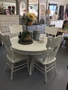 Gorgeous shabby creamy white distressed dining table + 4 chairs  Fixer Farmhouse Style Kitchen Table Dining Set, Dining Table, Farmhouse Style Kitchen, Creamy White, Solid Oak, New Homes, Shabby, Chairs, Furniture