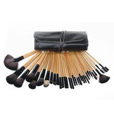 Hot Wood Makeup Brush Brushes Kit Professional Cosmetic Make Up 32 PCS Set Kit