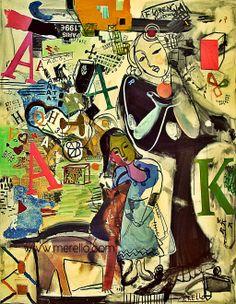 "E Q U I L I B R I U M Jose Manuel Merello.- ""Encuentro"" // ""Meeting"" Mix Media on Canvas (146x114 cm) (2001-2003) Contemporary Art. Color and Painting. Art moderne et contemporain. Artistes peintres espagnols. http://www.merello.com"