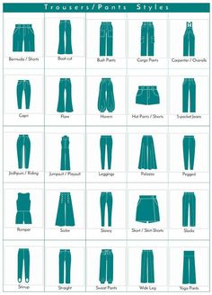 Fashion infographic a visual glossary of trousers pants styles more visual glossaries for her backpacks bags beads belt knots bobby pins boots bra types braids buns chain types coats collars darts dress shapes dress silhouettes eyeglass Fashion Terminology, Fashion Terms, Fashion Style Types, Types Of Style, Types Of Dresses Styles, Fashion Pants, Diy Fashion, Ideias Fashion, Fashion Clothes