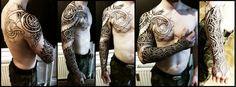 Nordic wyrm and geometry sleeve tattoo 2