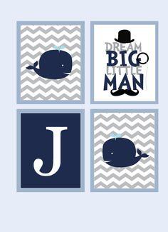 Whale Nursery Art - Baby Boy Nursery Art for Boys Room Decor, Nursery Decoration w